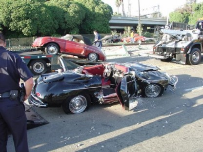 Car-Carrier Loaded With Vintage Porsches Hit by Train