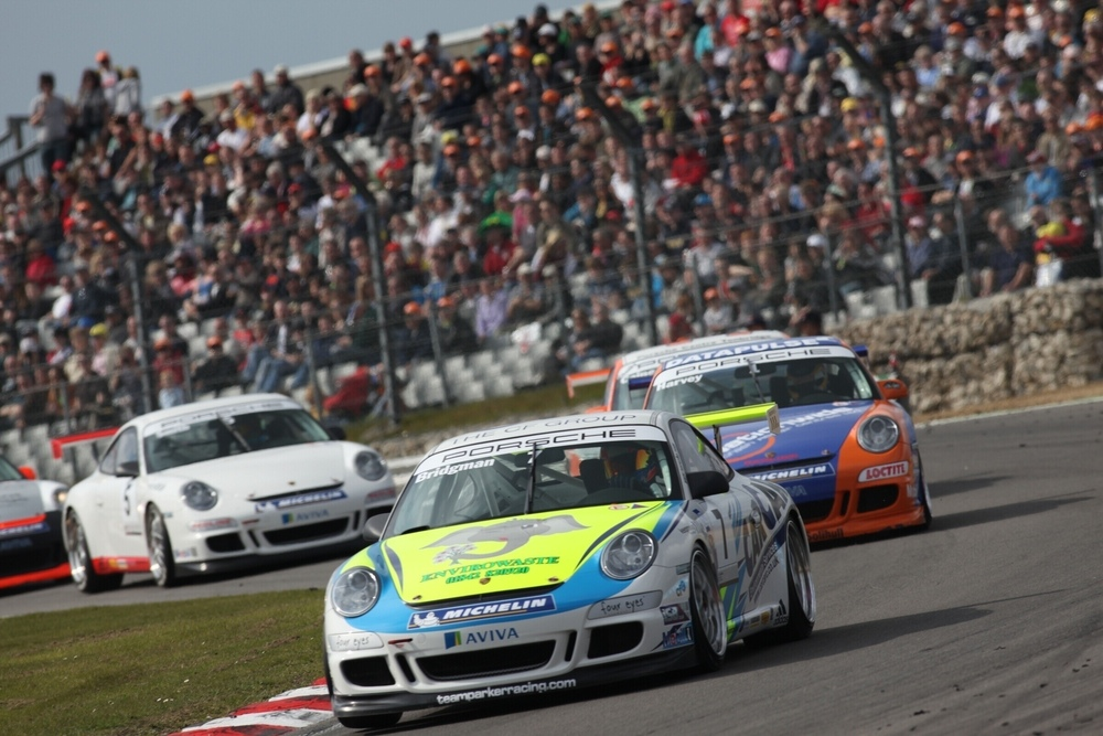 Porsches competing in the Carrera Cup Great Britain