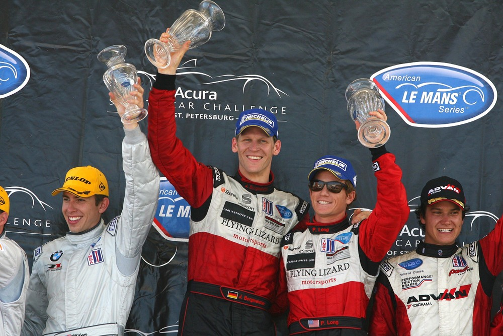 Jorg Bermeister and Patrick Long on the Podium in St. Pete ALMS