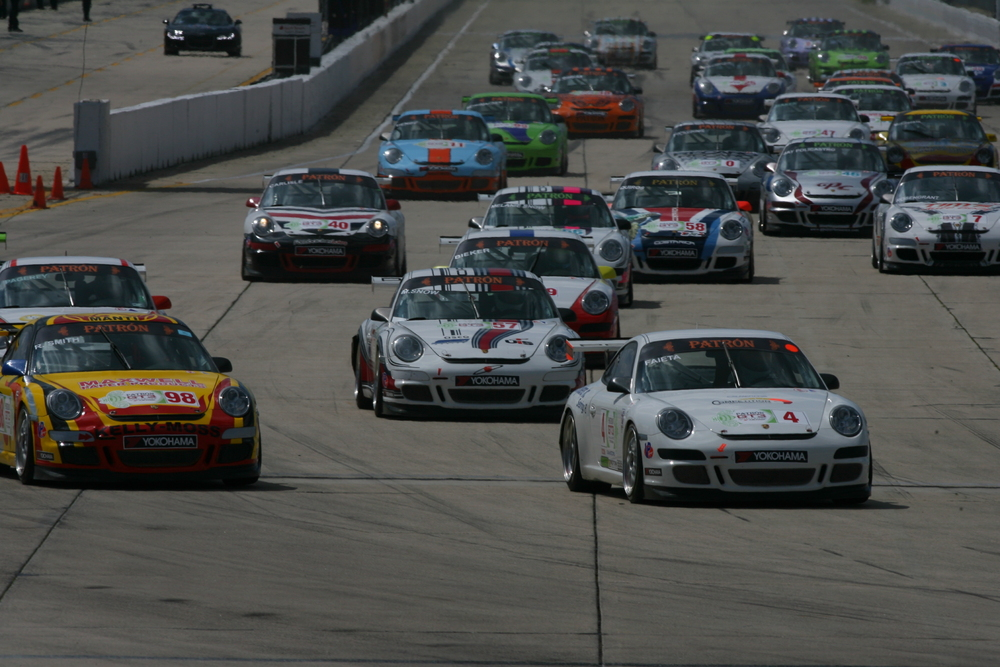 Porsche GT3s competing at the Patron GT3 Challenge Sebring