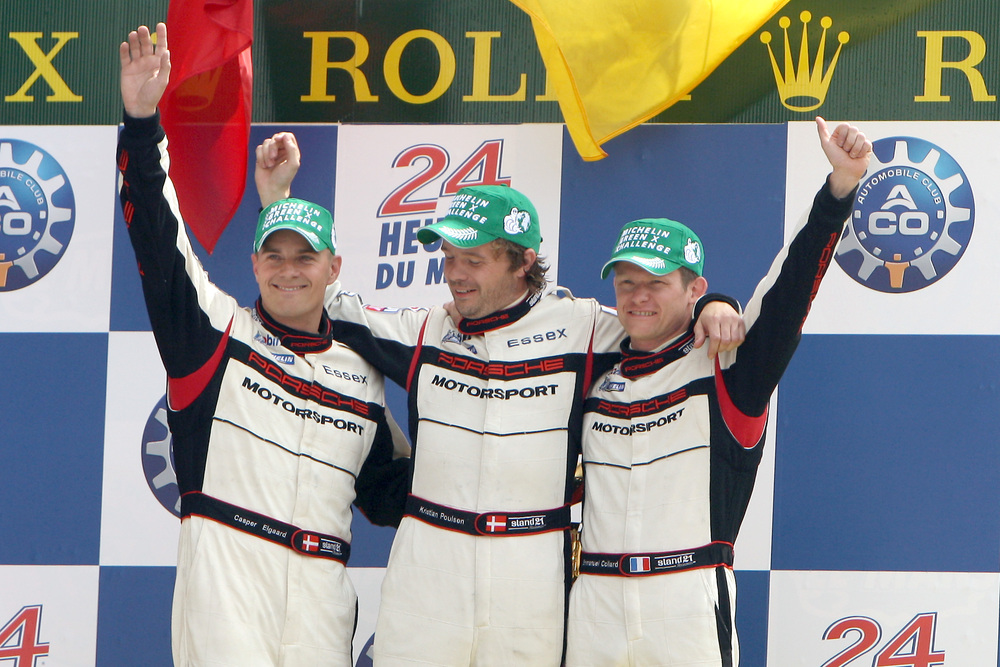 Casper Elgaard, Kristian Poulsen, Emmanuel Collard on the podium for LMP2 class at the 24 Hours of Le Mans