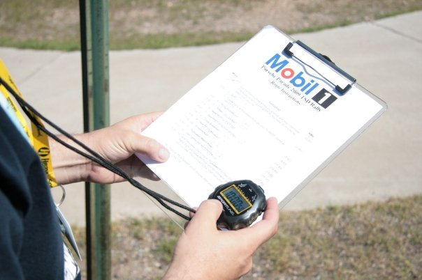 mobil 1 clipboard keeping time in the Porsche TSD Rally