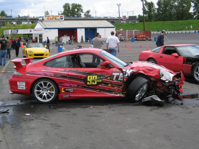 Porsche GT3 in a crash at the track