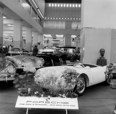 Porsches on display