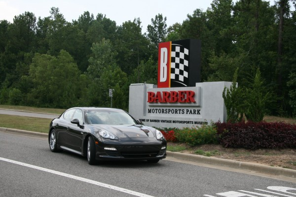 Black Porsche Panamera V6 at Barber Motorsport Park