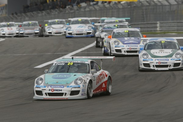 Racing Porsches on the Nurbergring in Germany