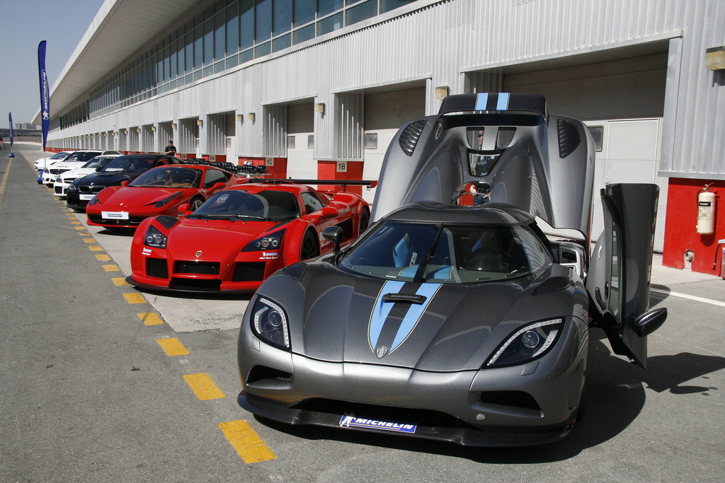 Line Up Of Exotics At The Autodrom In Dubai For Michelin