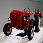 red Porsche tractor at museum