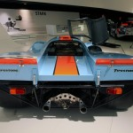 Rear end of the gulf liveried Porsche 917