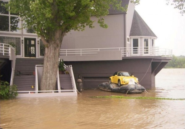Porsche on a float in ohio during flooding