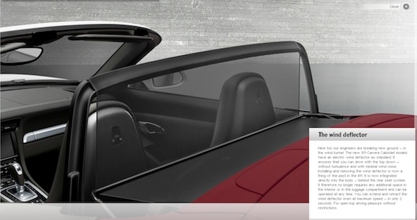 image of the 2012 Porsche cabriolet electric wind deflector