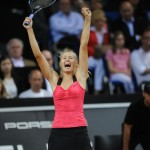 Maria Sharapova celebrating her win of the 2012 Porsche Tennis Grand Prix 2