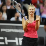 Maria Sharapova celebrating her win of the 2012 Porsche Tennis Grand Prix 3