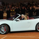 Maria Sharapova in the drivers seat of her Porsche 911 Cabriolet