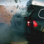 rear hatch of armored porsche cayenne blowing up