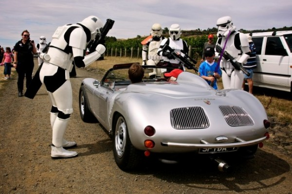 stormtroopers checking out a Porsche 550