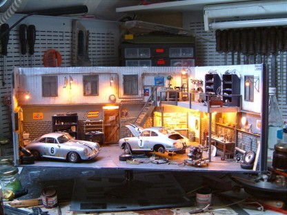 Would You Be Able to Tell That This Porsche Garage is Actually a Diorama?