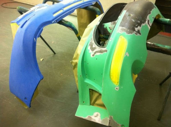 damaged parts are repaired by hand and repainted