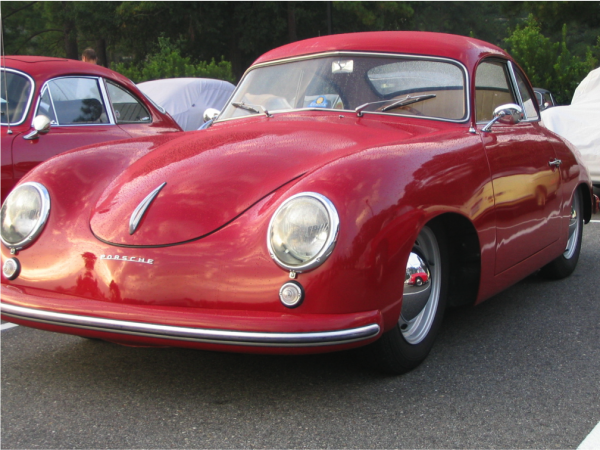 pre-a Porsche 356 with bent windshield