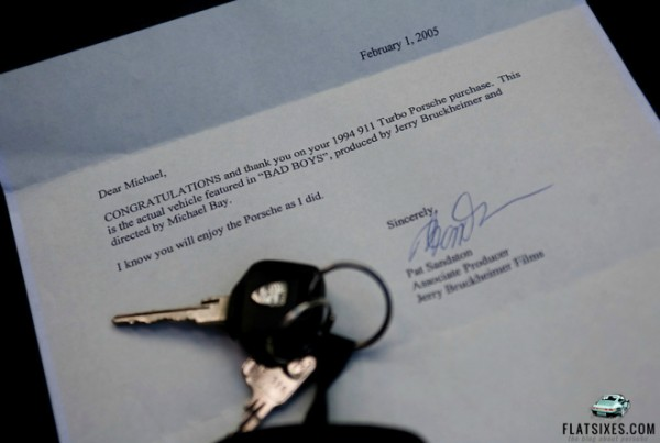 Letter from Bruckheimer Films that comes with the Bad Boys Porsche owned by the Drendel Family