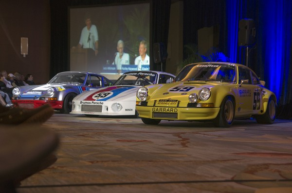 These 3 historic Porsches were to the left of the speaker podium. Photo Credit: Dave Engelman