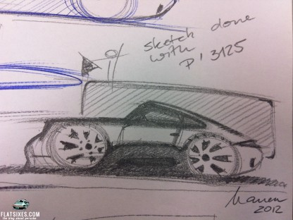Porsche pencil sketch by Michael Mauer