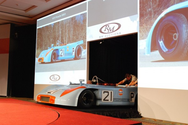 Porsche 908/3 Chassis #4 getting rolled onto the auction block