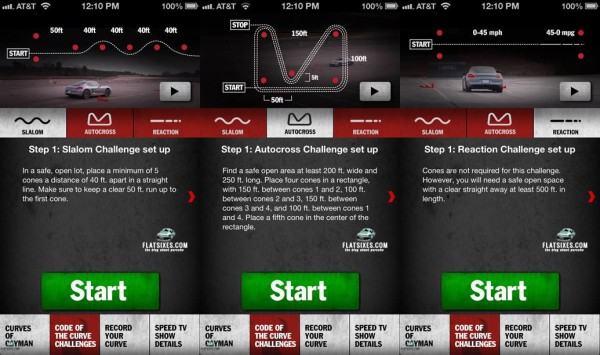 Screen shots from the new Porsche Cayman Code of the Curve App