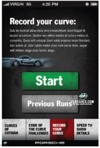 Porsche Cayman Code of the Curve app screenshot-Record Your Drive