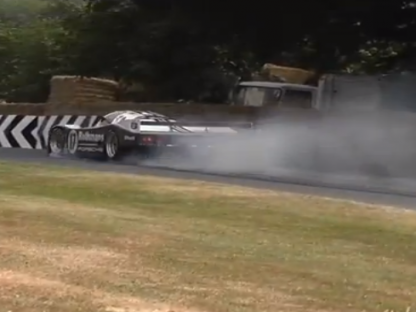 Watch as the 1987 Le Mans Winning Porsche 962C Crashes at the Goodwood Festival of Speed