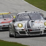 Porsche12.2013- ALMS- Road America- No22 Alex Job Racing Porsche leads No45 Flying Lizard Porsche
