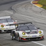 Porsche20.2013- ALMS- Road America- No48 Paul Miller Racing Porsche Leads No06 CORE autosport