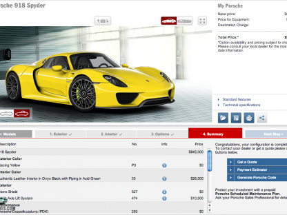 Porsche 918 Configurator is Live. Which Color Would You Choose?