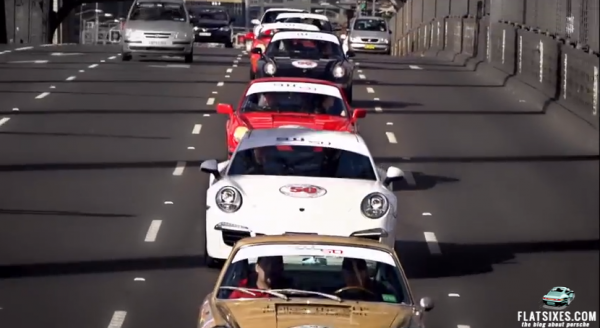 100 Porsches Crossing the Sydney Harbour Bridge