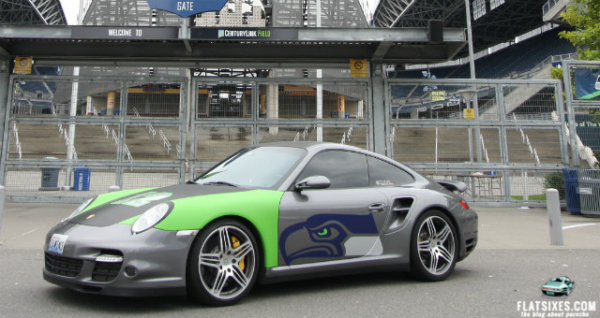 Porsche wrapped in Seattle Seahawks' colors
