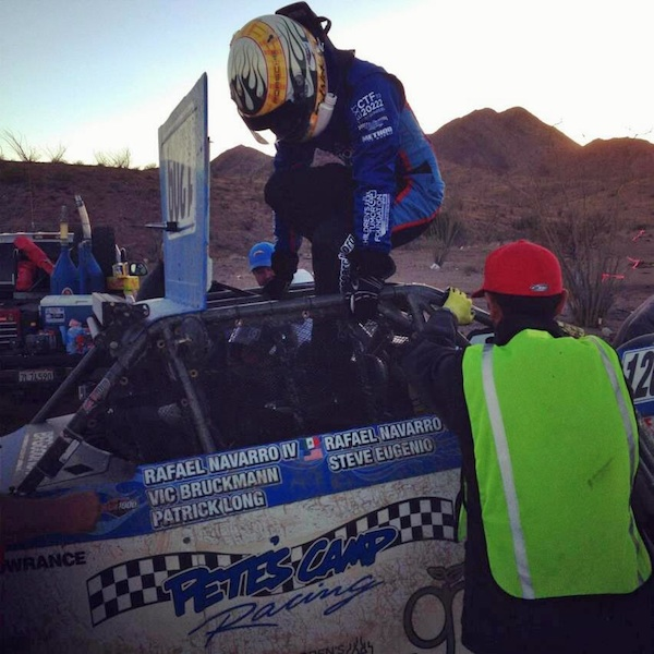 Patrick Long getting in for his stint in the CTF/R4R Pete's Camp Racing SCORE Lites Jimco-VW buggy
