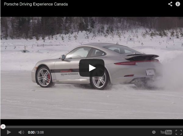 porsche sliding on ice driving through snow in canada