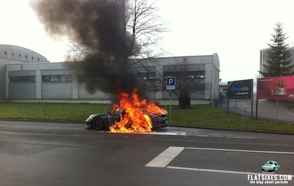 A Porsche 911 GT3 That Caught Fire In Switzerland