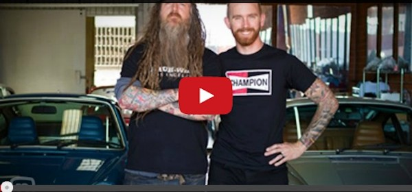 Magnus Walker and Chris Forsberg for a garage tour video shoot