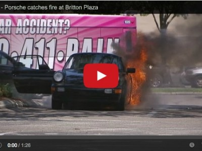 Porsche 964 on fire in a Tampa florida parking lot