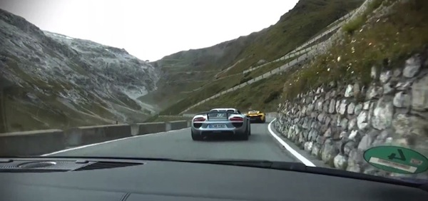 porsche 918 mclaren p1 audi R8 in the alps