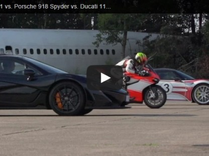 Porsche 918 Drag Races A McLaren P1 And A Motorcycle To 200 Miles Per Hour