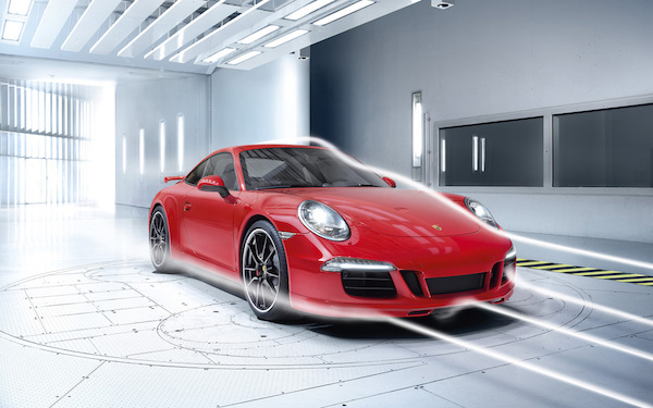 Porsche 911 in a wind tunnel