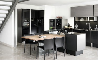 kitchen table integrated into the Poggenpohl P'7350 Porsche Design Kitchen