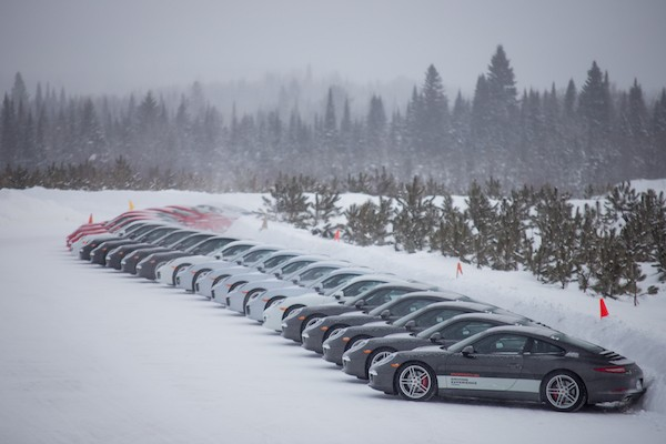 Lineup of Porsches at Camp4 Canada