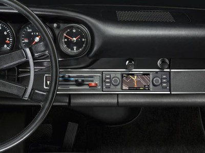 interior of a classic 911 with navigation radio from Porsche Classic