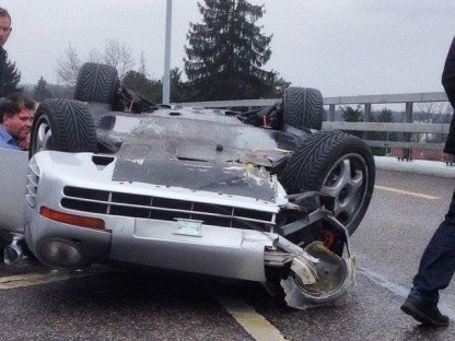 Swiss Porsche 959 Crushed In Rollover Accident