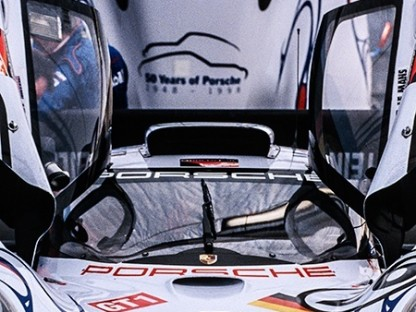 The infamous flying Porsche seen before the start of Petit Le Mans in 1998