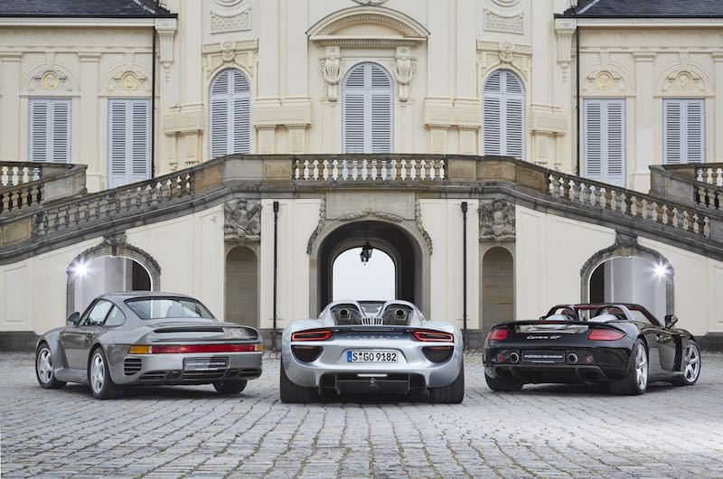 Porsche 959, 918 Spyder and Carrera GT (from left)