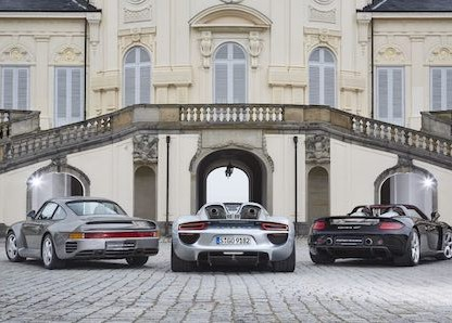 Porsche 959, 918 Spyder and Carrera GT (from left)small